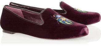 Tory Burch Easton embellished velvet slippers
