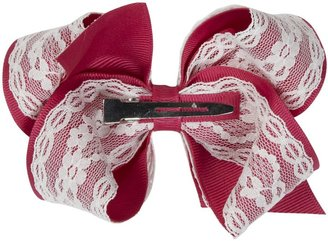 Wee Ones Grosgrain Bow with Lace - Azalea-One Size