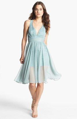 Blaque Label Crinkled Chiffon Fit & Flare Dress