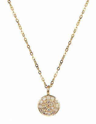 Tag Heuer FINE JEWELLERY 14K Yellow Gold Necklace with Round Pave Diamond Pendant
