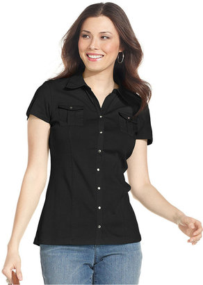 Style&Co. Top, Short-Sleeve Snap-Front Shirt