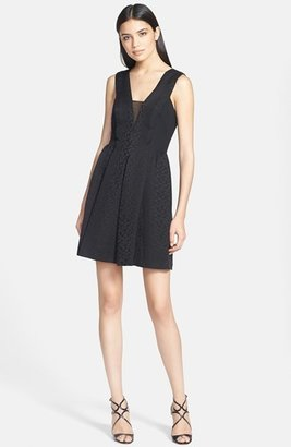 Rebecca Taylor Mesh Inset Cloqué Fit & Flare Dress