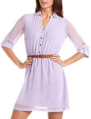 Charlotte Russe Roll-Cuff Chiffon Shirt Dress
