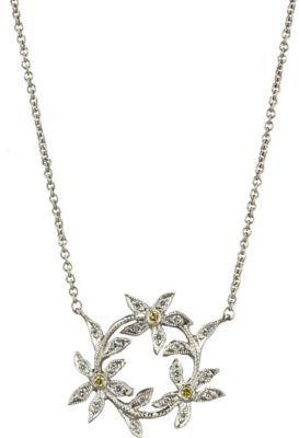 Cathy Waterman Diamond Circle of Flowers Pendant Necklace