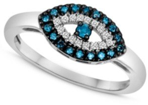 Macy's Sterling Silver Ring, Blue Diamond (1/10 ct. t.w.) and White Diamond Accent Evil Eye Ring