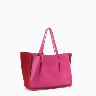 Zara Two-Tone Combined Leather Shopper