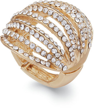 INC International Concepts Gold-Tone Crystal Pavé Multi-Row Stretch Ring $26.50 thestylecure.com
