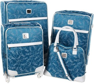 Diane von Furstenberg Color On The Go - Four Piece Spinner Luggage Set (Teal/White) - Bags and Luggage