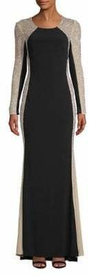 Xscape Evenings Long-Sleeve Beaded Gown