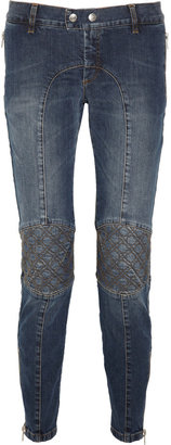 McQ Embroidered low-rise skinny jeans