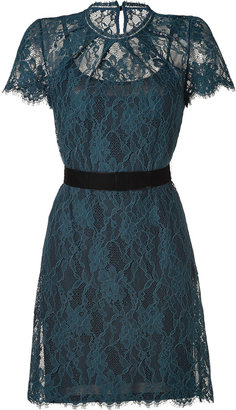 Collette Dinnigan Teal Floral Lace Short Sleeve Dress