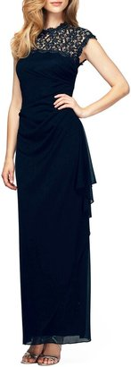 Alex Evenings Illusion Yoke Mesh Gown