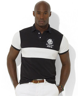 Polo Ralph Lauren Big and Tall Shirt, Classic Fit Short Sleeved Mesh Stripe Polo Shirt
