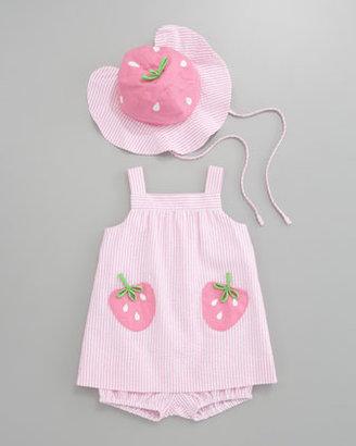 Florence Eiseman Strawberry Pockets Seersucker Dress, 12-24 Months