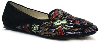 """House Of Harlow 1960 Zia"""" Black Beaded and Suede Loafer"""