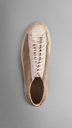 Burberry Studded Metallic High-Top Trainers