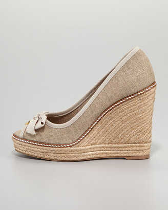 Tory Burch Jackie Peep-Toe Espadrille Wedge