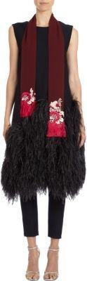 Dries Van Noten Embellished Chiffon Opera Scarf