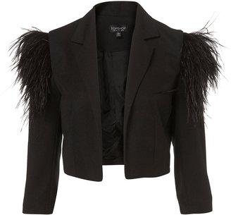 Topshop Feather Shoulder Crop Jacket