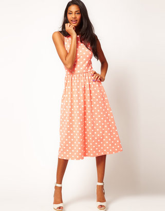 Asos Midi Dress In Spot Print