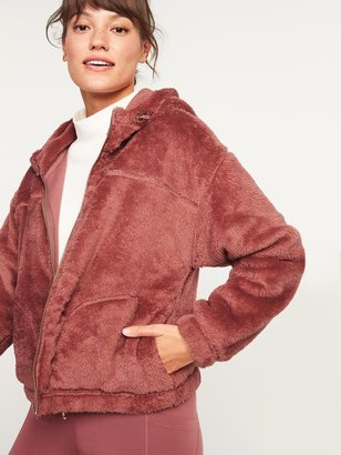 Old Navy Loose Cozy Sherpa Crop Hoodie for Women