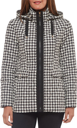 Kate Spade Short Hooded Quilt Coat In Houndstooth