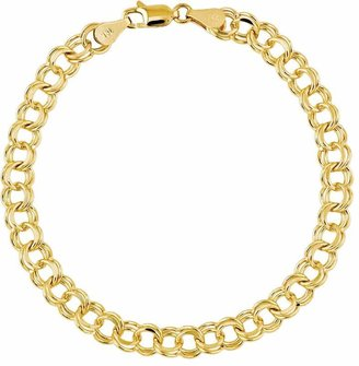 "Double Link Solid 7"" Charm Bracelet, 14K"