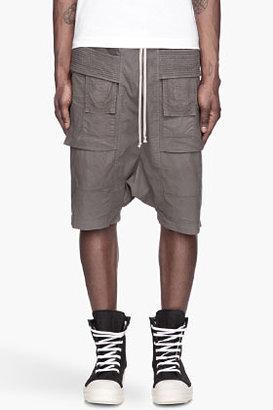 Rick Owens Dark grey banded Poplin cargo shorts