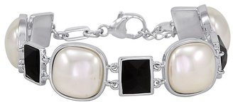 Majorica Pearl and Black Crystal Bracelet