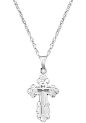 Sterling Silver Necklace, Orthodox Cross Pendant