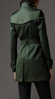 Burberry Mid-Length Cotton Sateen Trench Coat