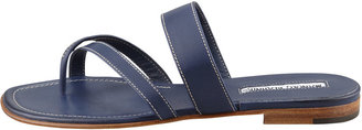 Manolo Blahnik Susa Flat Leather Sandal, Blue