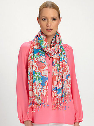 Lilly Pulitzer Murfee Cashmere/Silk Floral Scarf