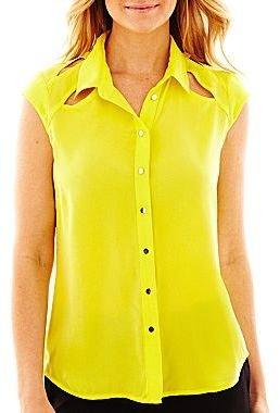 JCPenney Worthington® Short-Sleeve Button-Front Cutout Blouse
