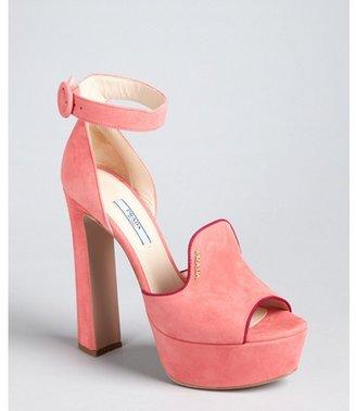 Prada pink and plum suede loafer ankle strap platform pumps