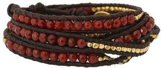 Chan Luu 32 Carnelian/Natural Dark Brown Bracelet (Carnelian/Natural Dark Brown) - Jewelry