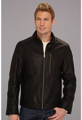 Cole Haan Spanish Grainy Leather Moto Jacket w/ Knit Collar