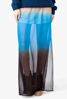 Forever 21 Ombré Chiffon Maxi Skirt