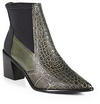 Tibi Spencer Crocodile-Embossed Leather Ankle Boots