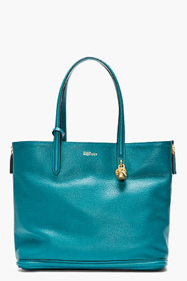 Alexander McQueen Teal Leather Skull Shopper Tote