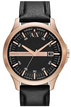 AX Armani Exchange Leather Strap Watch, 46mm $140 thestylecure.com