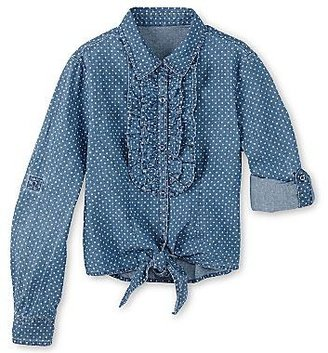 Arizona Ruffled Front-Tie Denim Shirt - Girls 4-16
