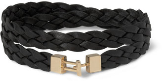 Luis Morais Woven-Leather and Yellow Gold Wrap-Around Bracelet