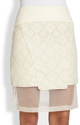 Tibi Chiffon-Panel Tweed Skirt