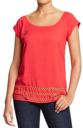 Old Navy Women's Embroidered-Hem Crepe Tops