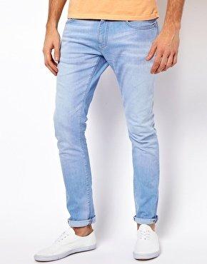 Jack and Jones Ben Original Skinny Fit Jeans - Light blue