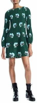 Maje Balloon-Sleeve Pleated Dress