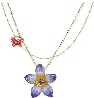 Betsey Johnson Hawaiian Luau Toc Purple Flower Pendant Necklace (Lilac) - Jewelry