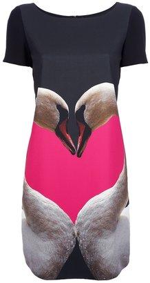 Moschino swan print dress