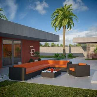 Modway Palm Springs 7 Piece Rattan Sectional Set with Cushions Fabric: Orange, Color: Espresso